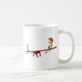 Cartoon Boys having fun on a See Saw Coffee Mug
