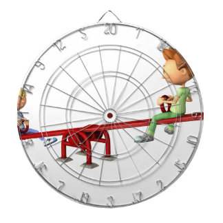 Cartoon Boys having fun on a See Saw Dartboard