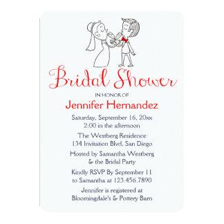 Cartoon Bride And Groom Red & White Bridal Shower 13 Cm X 18 Cm Invitation Card