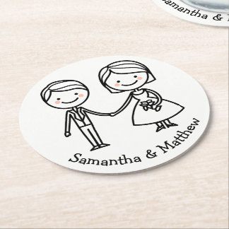 Cartoon Bride & Groom Black And White Wedding Round Paper Coaster