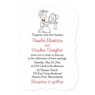 Cartoon Bride & Groom Black, White & Red Wedding 13 Cm X 18 Cm Invitation Card