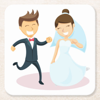 Cartoon Bride & Groom Dancing Wedding Black White Square Paper Coaster