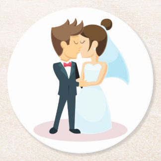 Cartoon Bride & Groom Kissing Wedding Round Paper Coaster
