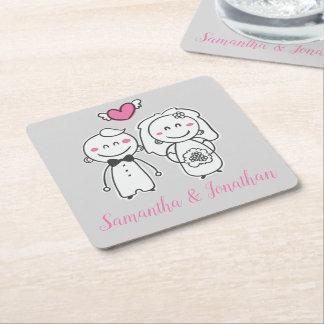 Cartoon Bride & Groom Pink & Gray Wedding Bridal Square Paper Coaster
