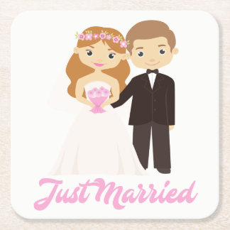 Cartoon Bride & Groom Pink Just Married Wedding Square Paper Coaster