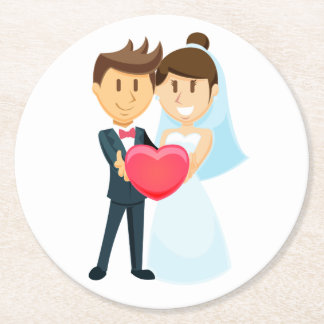 Cartoon Bride & Groom Red Heart Wedding Round Paper Coaster