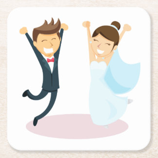 Cartoon Bride & Groom Wedding Square Paper Coaster