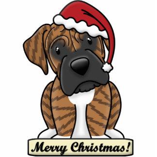 Cartoon Brindle Boxer Christmas Ornament Photo Sculpture Decoration
