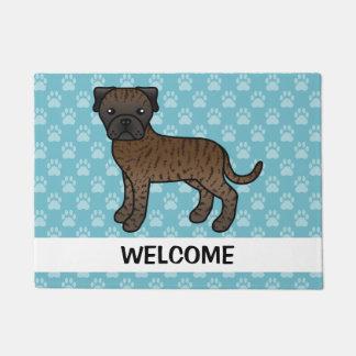 Cartoon Brindle Bullmastiff Dog With Welcome Text Doormat