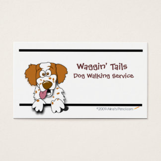 Cartoon Brittany Spaniel Business Card Template