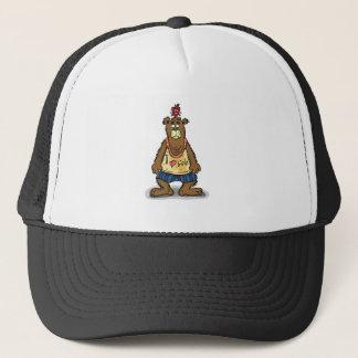 Cartoon Brown bear standing on his back feet Trucker Hat