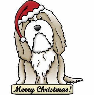 Cartoon Brown Bearded Collie Christmas Ornament Photo Sculptures