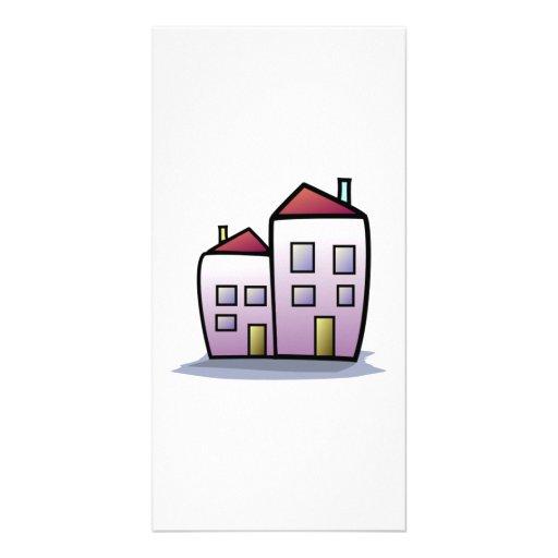 Cartoon Buildings Photo Card