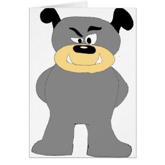 Cartoon Bull Dog Fight Club Fan Greeting Card