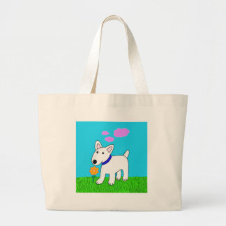 Cartoon Bull Terrier Smelling a Flower Jumbo Tote