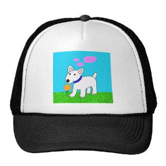 Cartoon Bull Terrier Smelling a Flower Trucker Hat