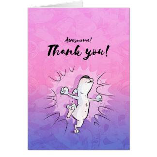 "Cartoon Bull Terrier ""Thank you!"" Greeting Card"