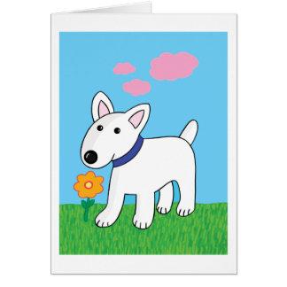 Cartoon Bull Terrier w Flower Greeting Card