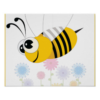 Cartoon Bumble Bee and Flowers Poster