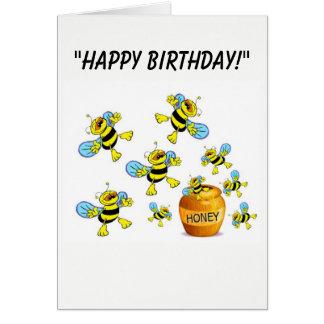 Cartoon Bumble-Bee Birthday Card