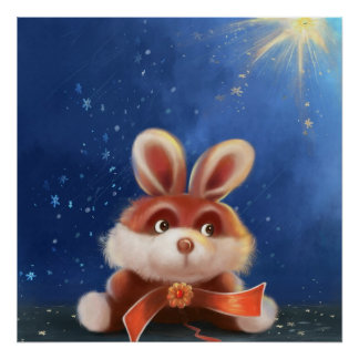 cartoon bunny painting Poster