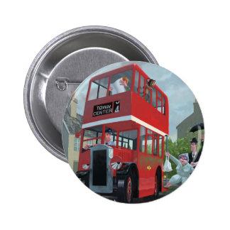 cartoon bus stop queue 6 cm round badge