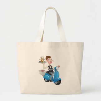 Cartoon Butler on Scooter Moped Delivering Souvlak Large Tote Bag