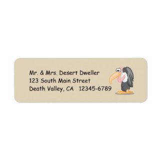 Cartoon Buzzard on Sand Colored Background Return Address Label