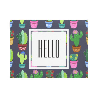 Cartoon Cactus Pattern Doormat