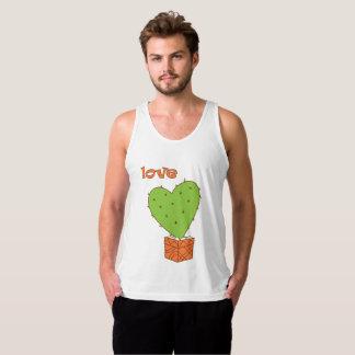 Cartoon cactus with love singlet