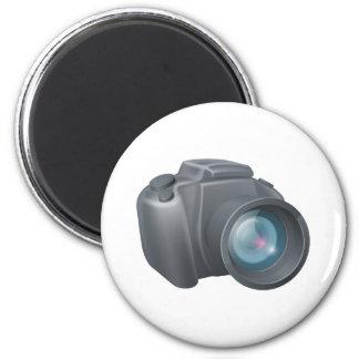 Cartoon camera illustration 6 cm round magnet