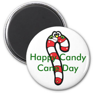 Cartoon Candy Cane with Smiling Face Fridge Magnet