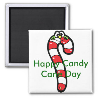 Cartoon Candy Cane with Smiling Face Square Magnet