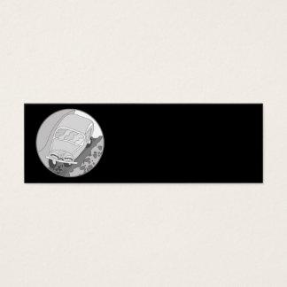 Cartoon car in silver on solid black mini business card