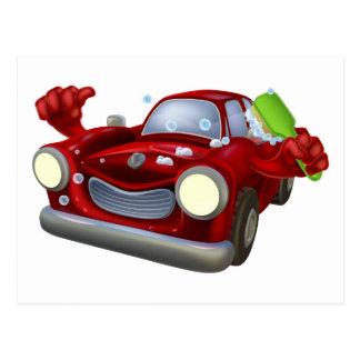 Cartoon car wash postcard