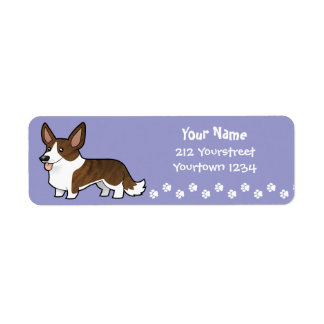 Cartoon Cardigan Welsh Corgi Return Address Label