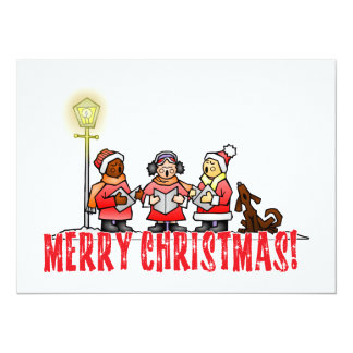 Cartoon Carolers sing Merry Christmas 14 Cm X 19 Cm Invitation Card