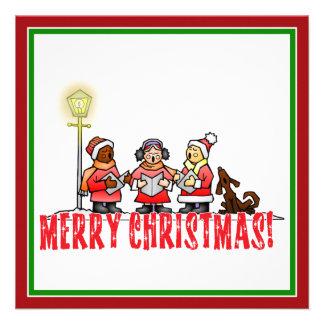Cartoon Carolers sing Merry Christmas Custom Invite