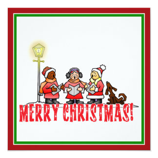 "Cartoon Carolers sing Merry Christmas 5.25"" Square Invitation Card"