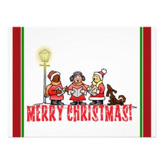 Cartoon Carolers sing Merry Christmas Custom Invites