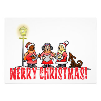 Cartoon Carolers sing Merry Christmas Invitations