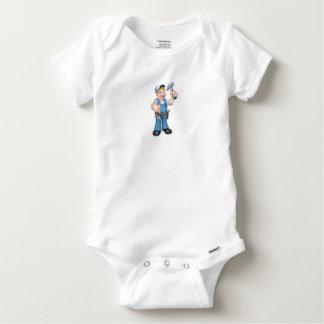 Cartoon Carpenter Handyman Holding Hammer Baby Onesie