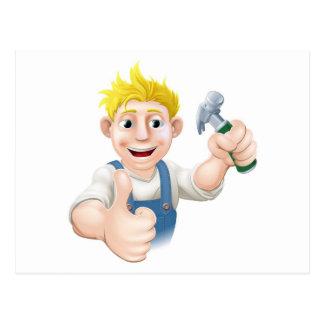 Cartoon carpenter or construction guy post card