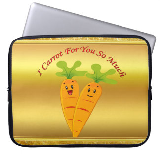 Cartoon carrots with big eyes and a smile to go laptop sleeve
