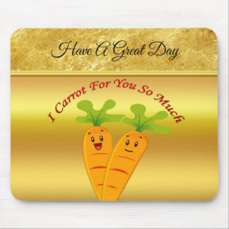 Cartoon carrots with big eyes and a smile to go mouse pad