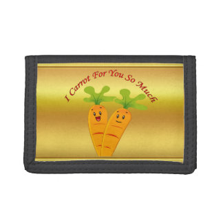 Cartoon carrots with big eyes and a smile to go tri-fold wallets