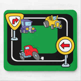 Cartoon Cars on a Race Track Mouse Pad