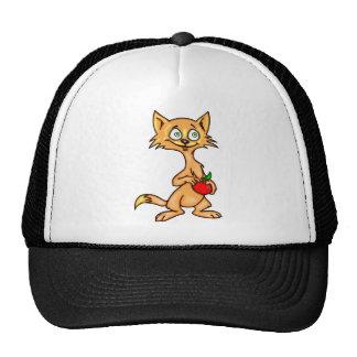 Cartoon Cat and Apple Cap