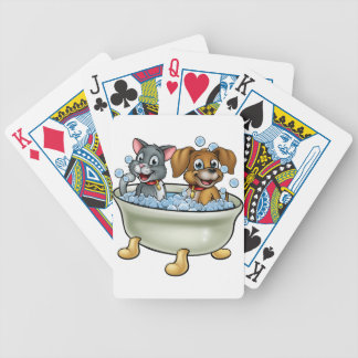 Cartoon Cat and Dog in Bath Bicycle Playing Cards