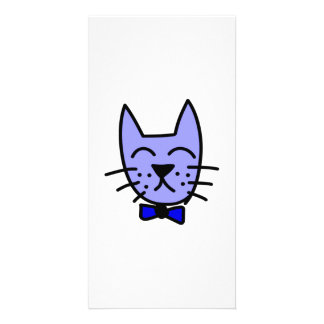 Cartoon Cat Face with Bow Tie Photo Greeting Card